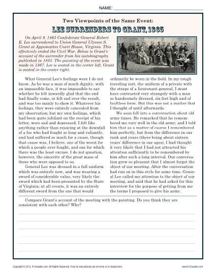 In this worksheet, your student will compare the writings of Ulysses S. Grant with a painting of the surrender of Lee at Appomattox Court House.