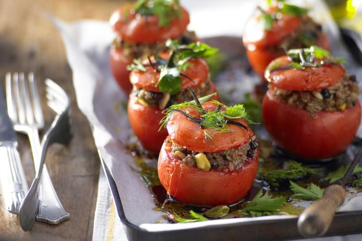 Freekeh, Lemon & pinenut stuffed tomatoes: Tomatoes Serves, Cup, Olive Oil, 6Prep 15Mins, Preserved Lemons, 15Mins Cook, Serves 6Prep, Pinenut Stuffed