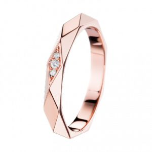 Boucheron facette or rose 1640e 3 diamants ronds