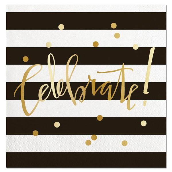 Celebrate Striped Gold Foil Beverage Napkin