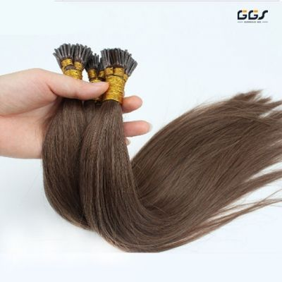 I Tip Hair Extensions #4 Medium Blown Straight Wave Unprocessed Brazilian Hair Virgin Remy Hair Weaves 5A 100g