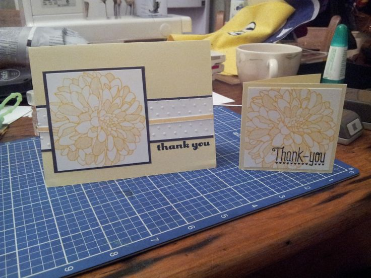 Regarding Dahlias stamp Daffodil Delight Ink, Cardstock & Ribbon Black cardstock Stazon Ink and Thank You Polymer Stamp