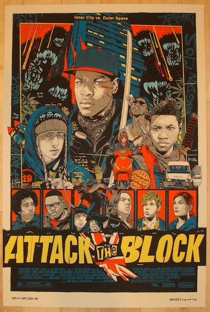 """Attack The Block - silkscreen movie poster (click image for more detail) Artist: Tyler Stout Venue: n/a Location: n/a Date: 2013 Edition: 700; numbered Size: 24"""" x 36"""" Condition: Mint Notes: this silk"""