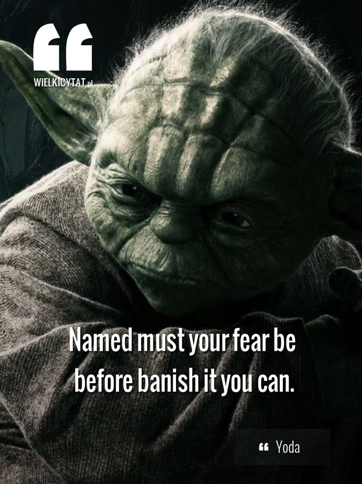 """""""Named must your fear be before banish it you can."""" ~ Yoda"""