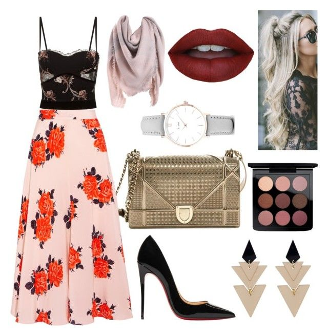 floral print by sweetdollanjali on Polyvore featuring polyvore fashion style La Perla Ganni Christian Louboutin Christian Dior CLUSE Toolally MAC Cosmetics clothing