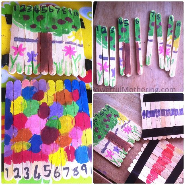 Create a picture on popsicle sticks taped together, number them, untape and mix them up... great art project/puzzle/number recognition.