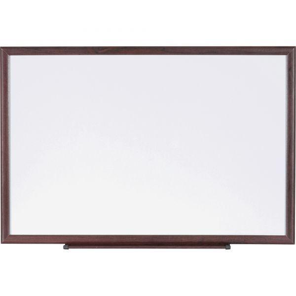 Lorell 36 X 24 Melamine Dry Erase Whiteboard Brown Wood Frame Wood Frame Marker Board Dry Erase Whiteboard
