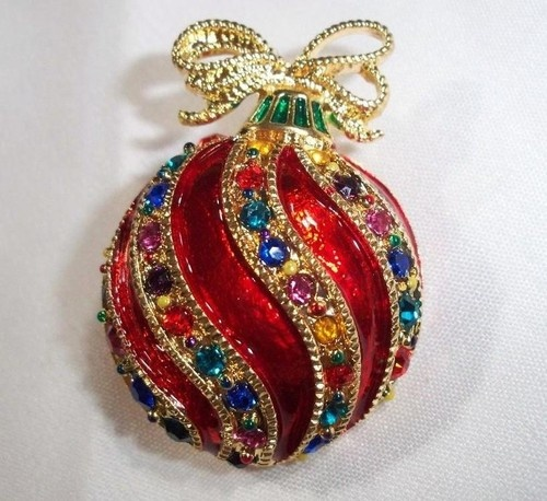 Christmas Tree Ornament Pendant Brooch Pin -COMES IN GIFT BOX- USA SELLER
