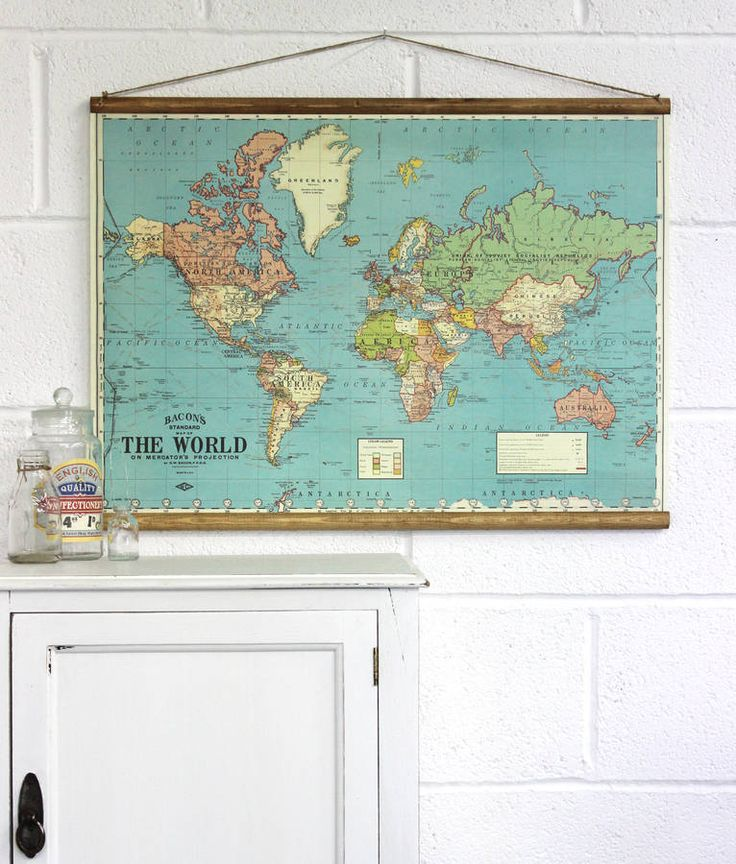 Bacon's Map Of The World Wall Hanging. I think this would look great in the hall
