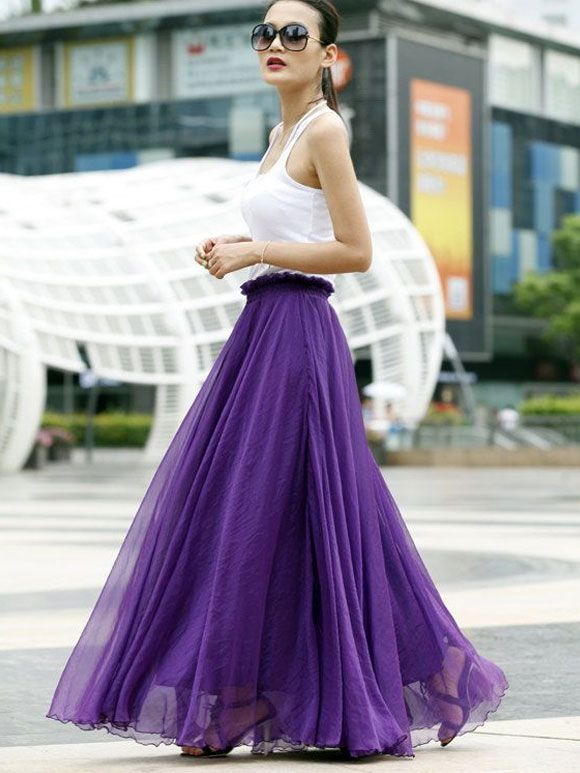 Fashion Fix: paarse maxi rok