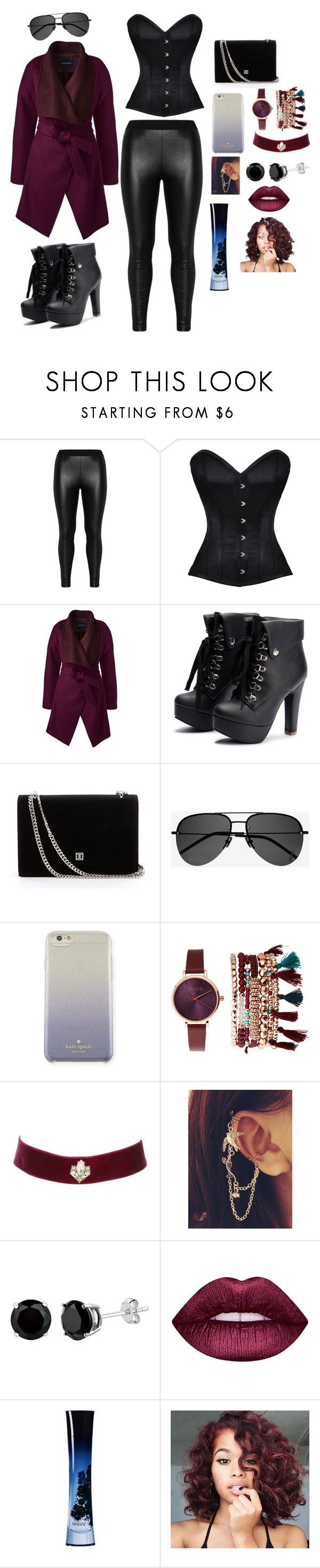 """Chic and mellow 📖✒🙏"" by o-itzchriscile ❤ liked on Polyvore featuring Zizzi, Lands' End, Yves Saint Laurent, Kate Spade, Jessica Carlyle, Charlotte Russe, Lime Crime and Giorgio Armani"