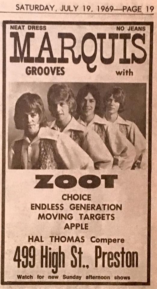 Performing at Preston, 1969