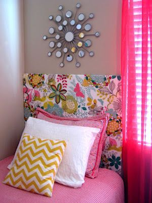DIY Headboard - foam core board and fabric, attached to the wall with 3M squares!