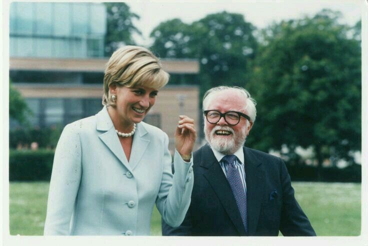 27.05.1997; Princess Diana with director Sir Richard Attenborough to formally open the Attenborough Centre at Leicester University. The director, who died in 2014, aged 90, helped Diana by prepare for her speeches by giving her voice lessons
