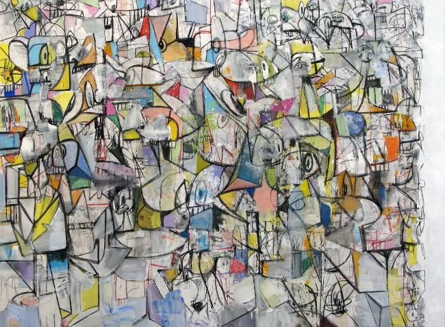 George Condo, Compression VI, 2011 Acrylic, charcoal, pastel on linen 81 x 110 inches (205.7 x 279.4 cm)
