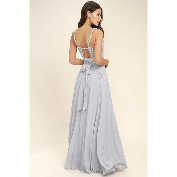 Carte Blanche Light Grey Maxi Dress ($112) ❤ liked on Polyvore featuring dresses, grey, long pleated skirt, pleated maxi dress, long maxi skirts, long pleated maxi skirt and grey maxi dress