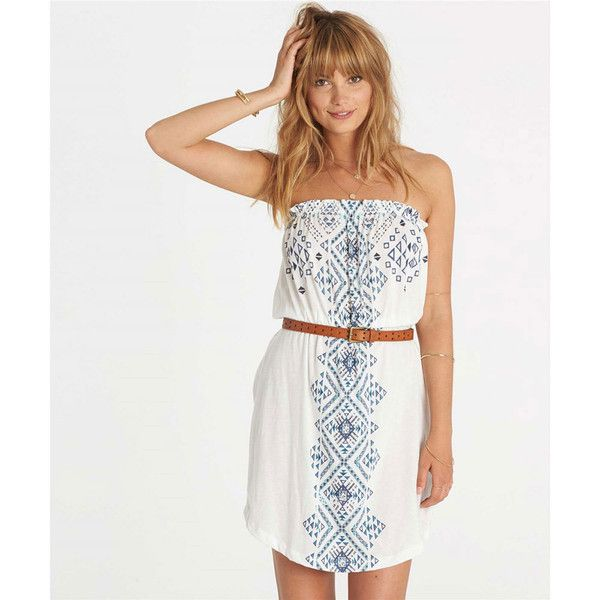Billabong Women's Here It Is Dress White Dresses S ($35) ❤ liked on Polyvore featuring dresses, white, strapless sun dress, strapless sundress, billabong, white bandeau top and bandeau tops