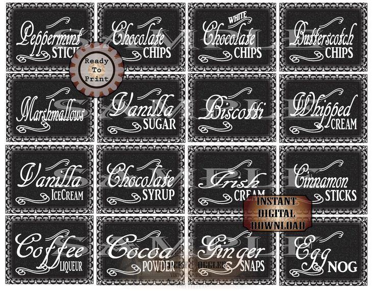 Hot chocolate bar printable set 16 ingredients label