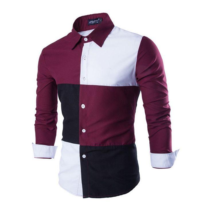 Chemise Homme Patchwork Men's Dress Shirt Camisa Fashion Long-Sleeved Shirt Male Camisa Masculina Slim Fit Casual Shirts CS224