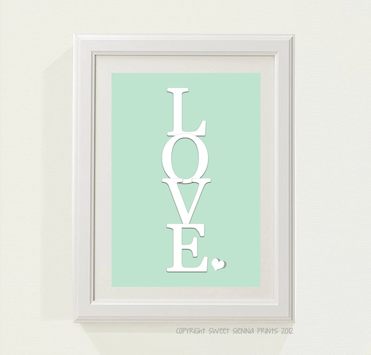 "Sweet and Simple Mint Green ""LOVE"" Nursery decor"
