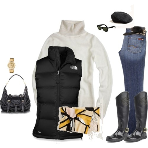 The entire outfit, from the watch to the scarf to the vest and boots! Must wear this season!