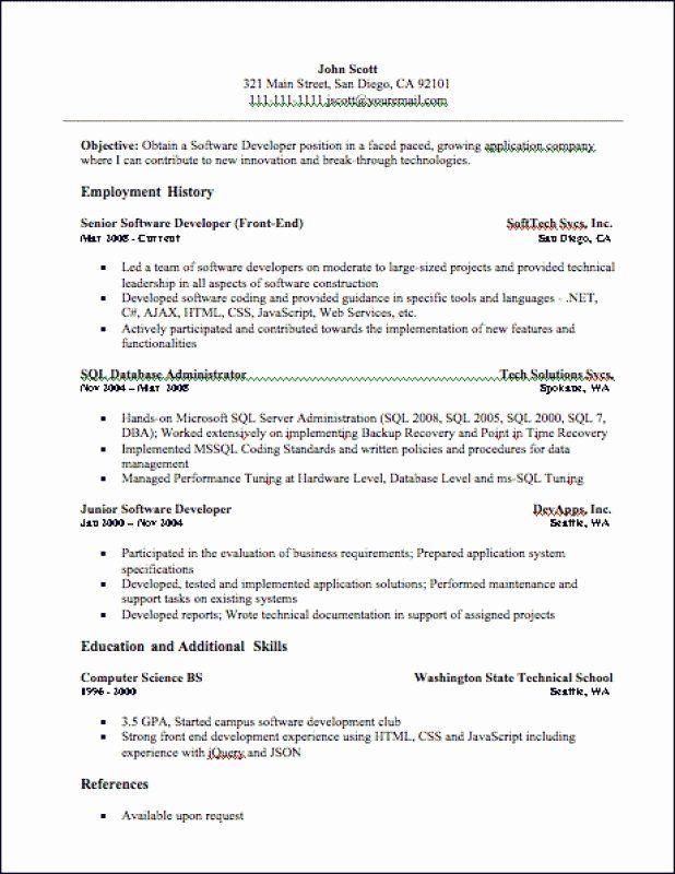 Junior Web Developer Resume Best Of 9 Junior Sql Developer Resume Web Developer Resume Web Design Jobs Resume Skills