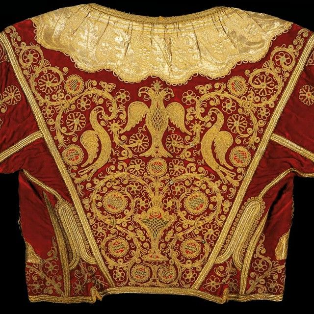 Greek - 19th-c velvet kondogouni (a kind of vest) with gold thread embroidery: floral patterns birds and a double - headed eagle. From Corfu Island in the Ionian Islands.) #benakimuseum