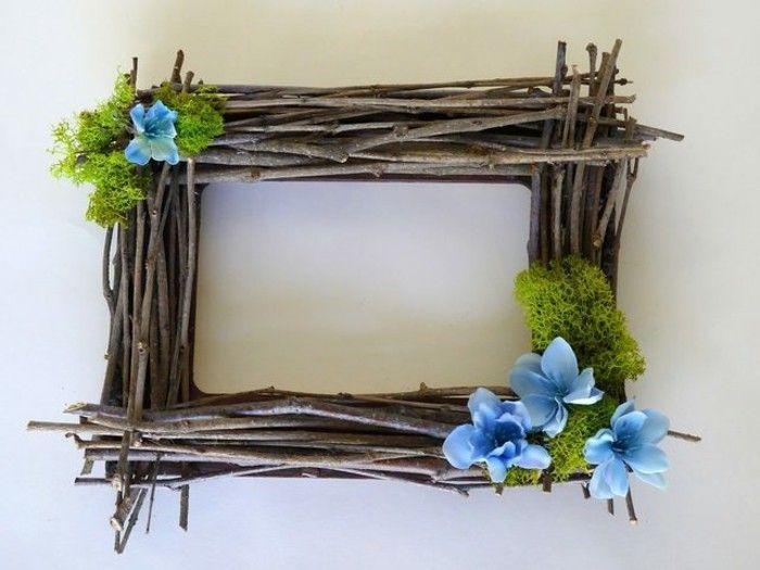 idee-cadre-photo-rustique-a-fabriquer-soi-meme-des-brindilles-de-bois-et-fleurs-decoratives