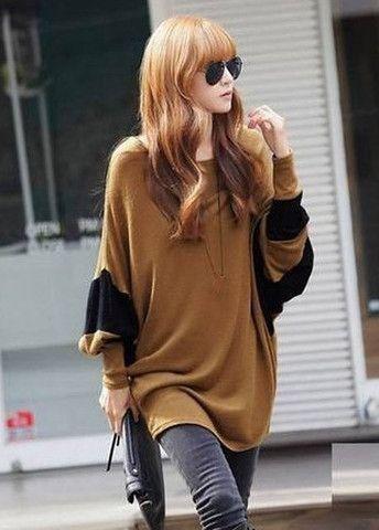 Woman Long Style Coffee Long Sleeve T Shirt – teeteecee - fashion in style