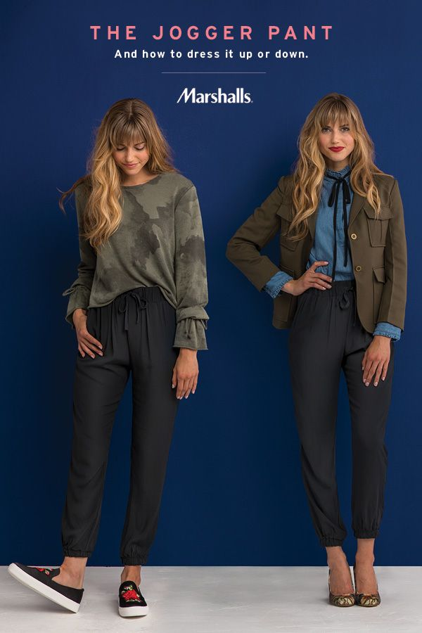 The jogger pant — a fall staple you can dress up or down! For a casual athleisure look, do the half tuck with a camo long-sleeve sweater and slip into embroidered sneaks. For the office, pair a high-neck chambray shirt with a structured blazer and block h https://twitter.com/ecosmcognm/status/903781805576208384