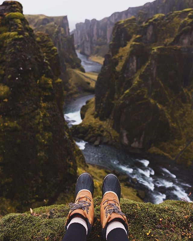 Best seat in the house at Fjaðrárgljúfur! IG: @TheBlondeAbroad