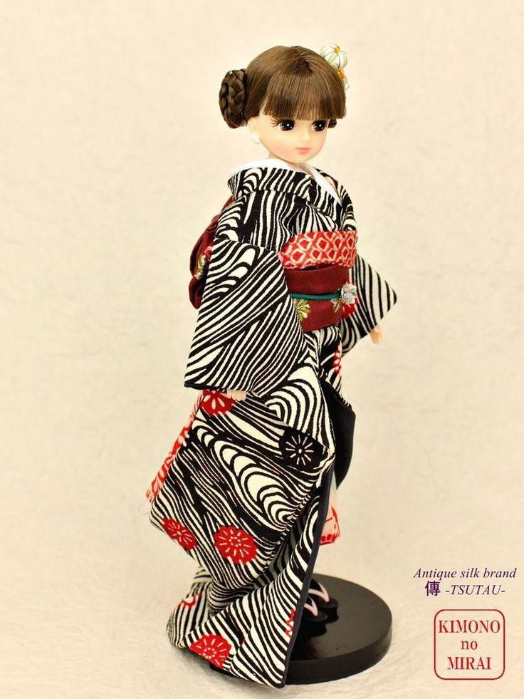 KIMONOnoMIRAI Antique silk kimono of real thing, for dolls Licca,Blythe,DAL Bl #KIMONOnoMIRAI
