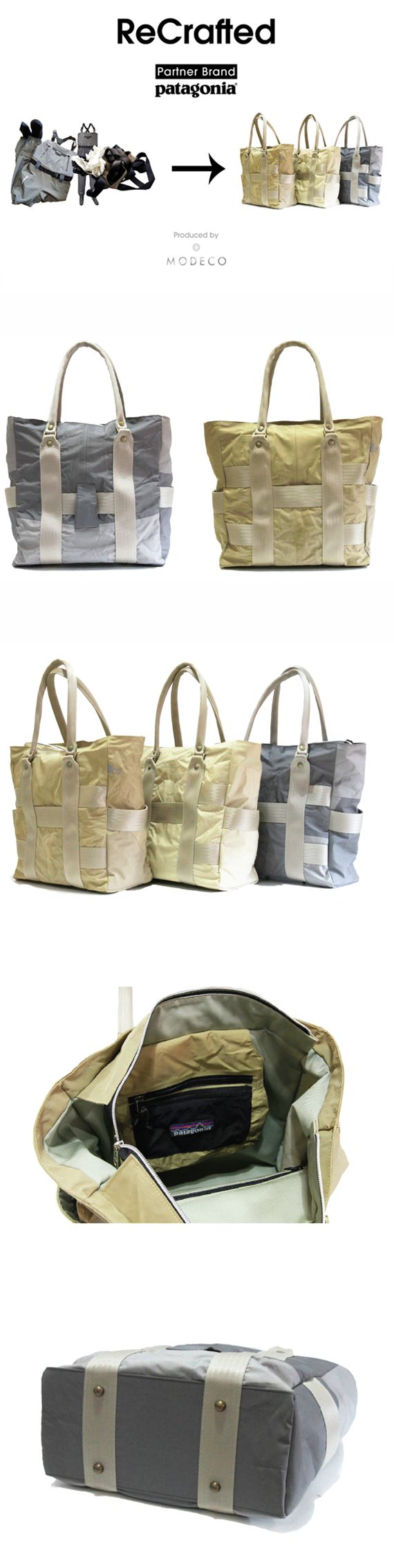 "MODECO released upcycling brand, ""ReCrafted""series in 2014. The first model is upcycled products made of used waders collected through the Common Threads Partnership Program conducted by an American outdoor brand, Patagonia Japan as the first partner brand."