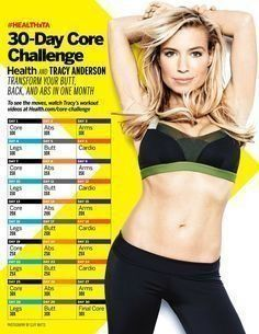 Take the 30-Day Core Challenge with HEALTH and TRACY ANDERSON! Get a new workout video every day to transform your butt, back, and abs. #HEALTHxTA