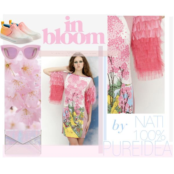 Cherry bloom & lucky cat dress by natipureidea on Polyvore featuring MARC BY MARC JACOBS, Rebecca Minkoff and Quay Eyeware