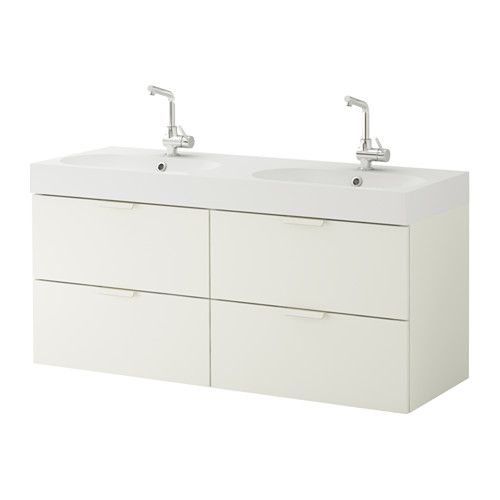 IKEA - GODMORGON / BRÅVIKEN, Sink cabinet with 4 drawers, white, , 10-year Limited Warranty. Read about the terms in the Limited Warranty brochure.</t><t>Smooth-running drawers with pull-out stop.</t><t>You can easily change the size of the box by moving the divider.</t><t>You can easily see and reach your things because the drawers pull out fully.</t><t>Drawers made of solid wood, with bottom in scratch-resistant melamine.</t><t>Perfect for more than one since the sinks has two ...