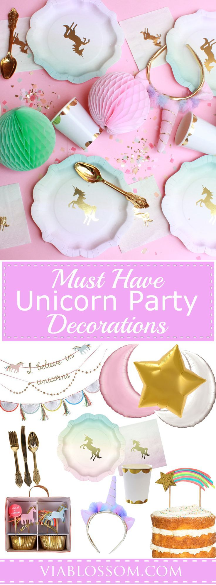 You will die over our Unicorn Party Decorations for a magical girl birthday party! All the Unicorn Party Ideas in one place for easy party planning and decorating! #unicorn party #kids party