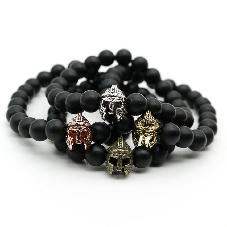 Gold Plated Roman Knight Spartan Warrior Gladiator Helmet Bracelet Men Black Matte Stone Bead Bracelets For Men Jewelry MN-4