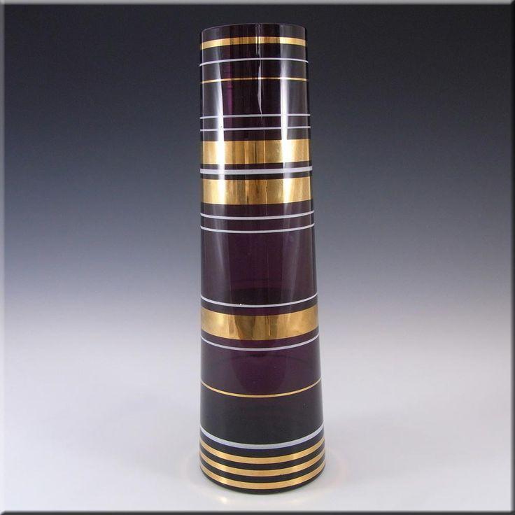 Borske Sklo 1950's Purple Glass Cyclindrical Vase - £19.99
