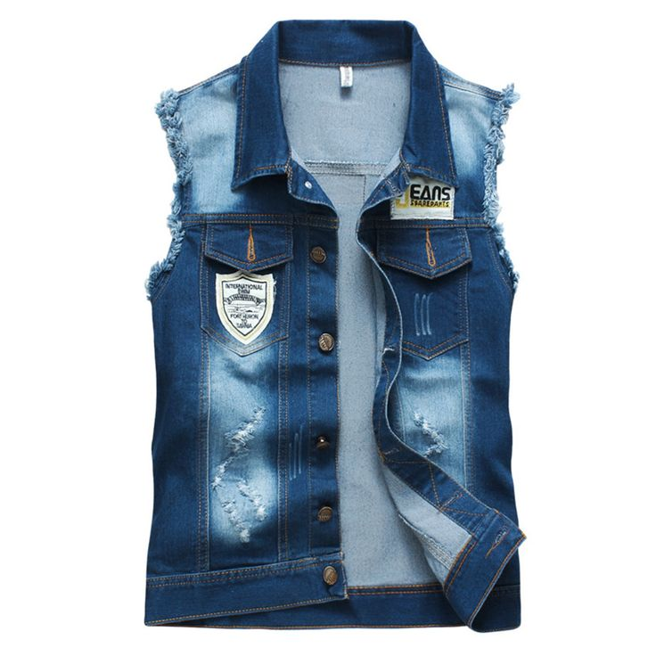 2015 New Denim Vest Men Fashion Sleeveless Jean Jacket Men Slim Fit Blue Jean Vest For Men Retail M-XXL Men Tank Top //Price: $US $25.90 & FREE Shipping //