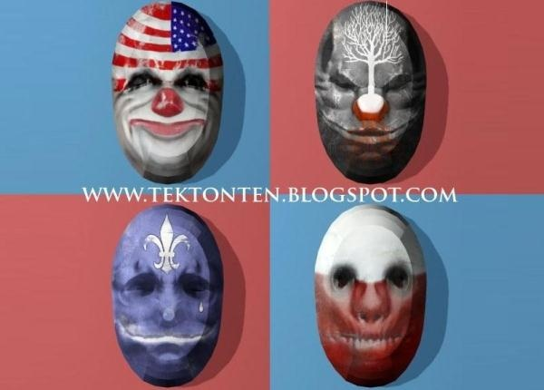 Payday: The Heist - Decorative Paper Model Masks - by Tektonten   ==           From Payday: The Heist videogame, here are some decorative masks created by designer Tektonten.papermau.blogspot.com