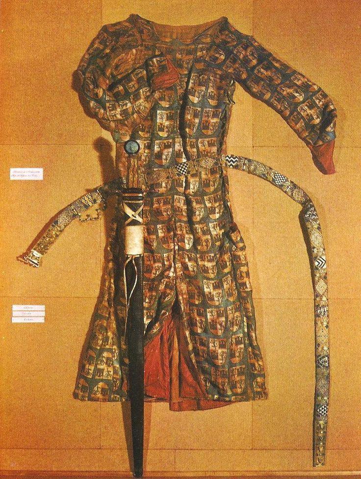 1200s Spain.Tunic, sword and belt of Fernando de la Cerda. Found in the Royal Monastery of Las Huelgas, in Burgos, Spain.