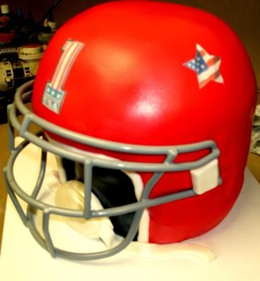 Football Helmet Cake -- excellent detailed instructions