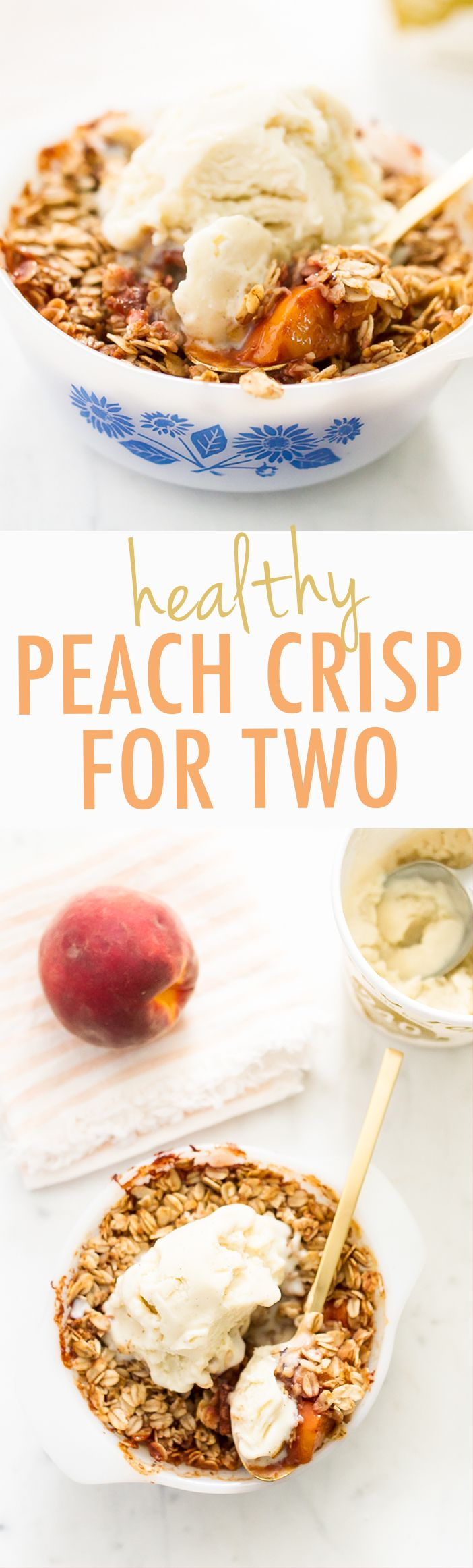 Healthy Peach Crispy for Two People! Perfect for date night. #glutenfree and #vegan