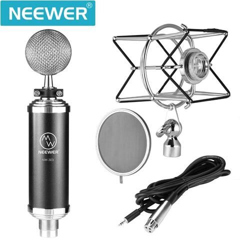 Neewer NW-500 Professional Condenser Mic Kit:(Condenser Microphone+Integrated Metal Pop Filter+Shock Mount+3.5MM XLR cable)