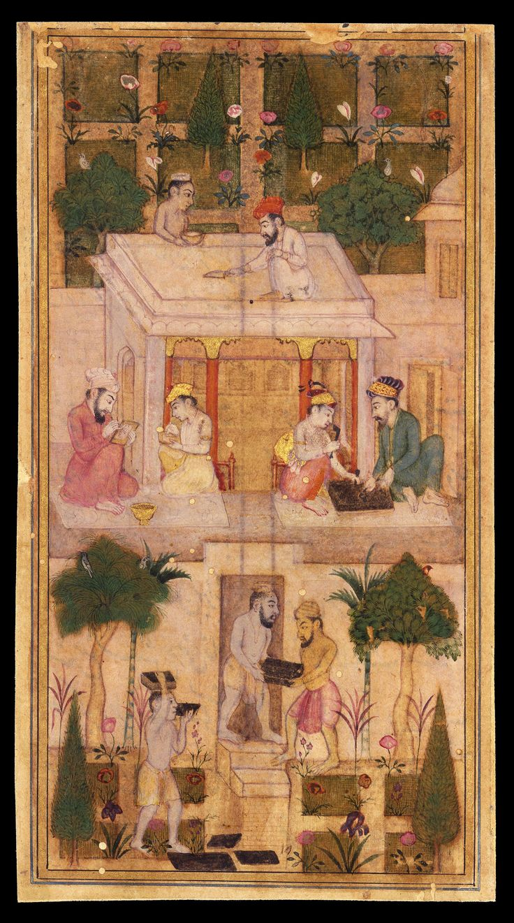 "Miniature. ""Making Books in a Garden"" India, Deccan, Aurangabad (?); 17th century Leaf: 15.9 × 8.6 cm"