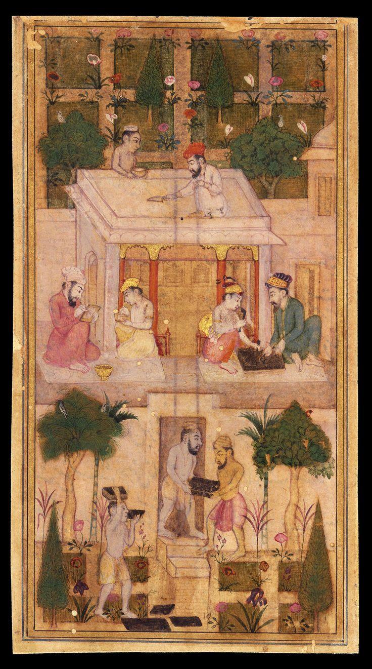 "Miniature. ""Making Books in a Garden"" India, Deccan, Aurangabad (?); 17th century Leaf: 15.9 × 8.6 cm"