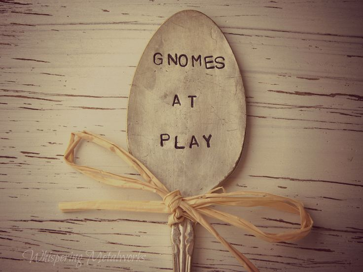 GNOMES AT PLAY spoon - garden marker - silver plated - hand stamped