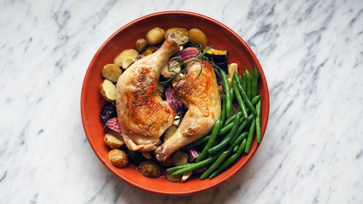 Kyllinglår med honningglaserte rotgrønnsaker