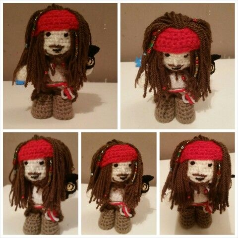 Free Standing Captain Jack Sparrow Crochet Doll, With Pivot Head